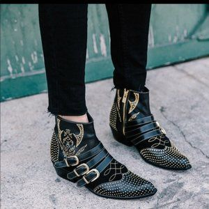Anine Bing Penny Gold Studded Ankle Booties EUR 40